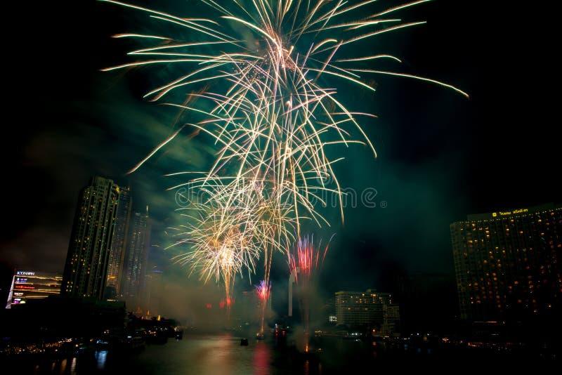 Landscape photo of firework for New Year 2020 celebration on Chao Phraya River at IconSiam or Icon Siam Department Store, Bangkok,. Bangkok, Thailand - 1 January royalty free stock photos