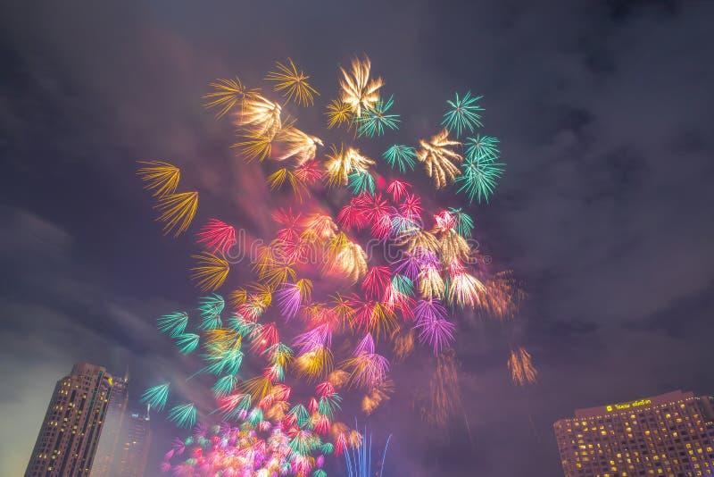 Landscape photo of firework for New Year 2020 celebration on Chao Phraya River at IconSiam or Icon Siam Department Store, Bangkok,. Bangkok, Thailand - 1 January stock image