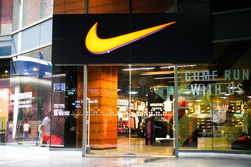 BANGKOK, THAILAND - JANUARY 11, 2018: Nike Shop is opening at Siam Square One Shopping Mall, the popular mall that located in Siam royalty free stock photography