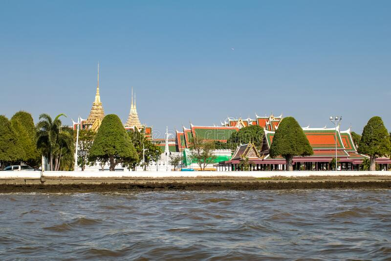 BANGKOK,THAILAND-January 16 Panorama of the Grand Palace at the Chao Phraya River. royalty free stock photo
