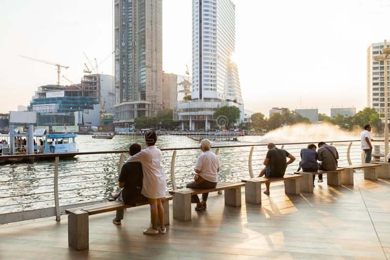 Chao Phraya River. BANGKOK,THAILAND - JANUARY 19,2018 : The Tourist Come and watch the evening of the Chao Phraya River,Bangkok,Thailand on January19,2018 stock images