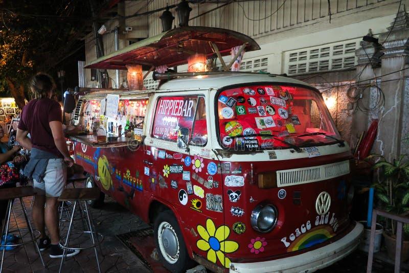 BANGKOK, THAILAND - JANUARY 11. 2018: Vehicle changed into a bar in Bangkoks nightlife royalty free stock photography