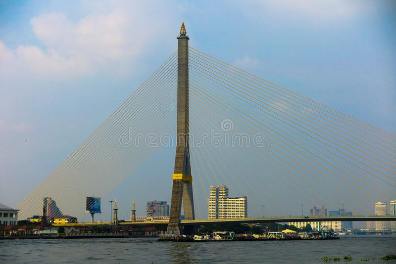 BANGKOK, THAILAND - JANUARY 5. 2019: View on Rama VIII Bridge during day time stock photo