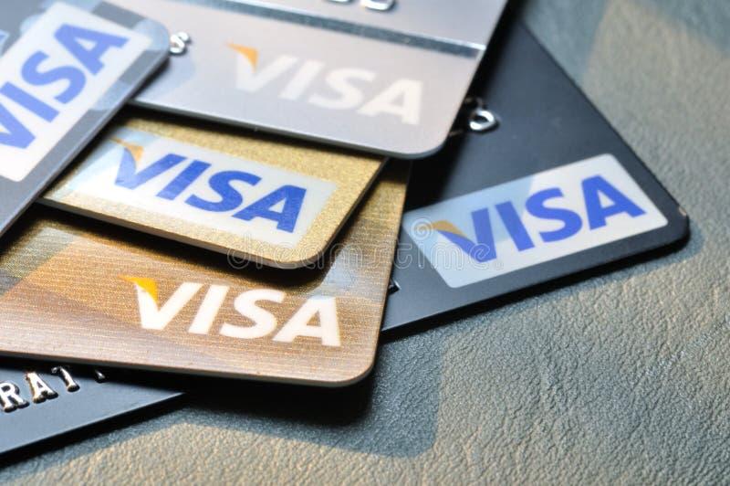 BANGKOK,THAILAND - January 28,2015: Visa credit cards on leathe. R board royalty free stock image