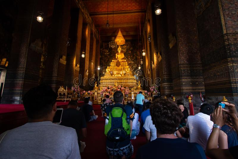 Bangkok, Thailand - Jul 9, 2018: Wat Pho or Wat Phra Chetuphon buddhist temple . golden buddha statue . old historic architecture stock image