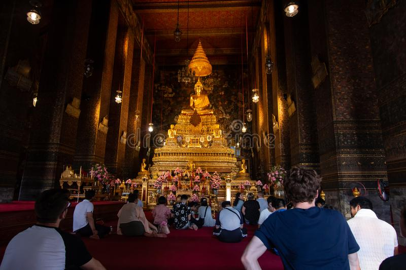 Bangkok, Thailand - Jul 9, 2018: Wat Pho or Wat Phra Chetuphon buddhist temple . golden buddha statue . old historic architecture stock photos