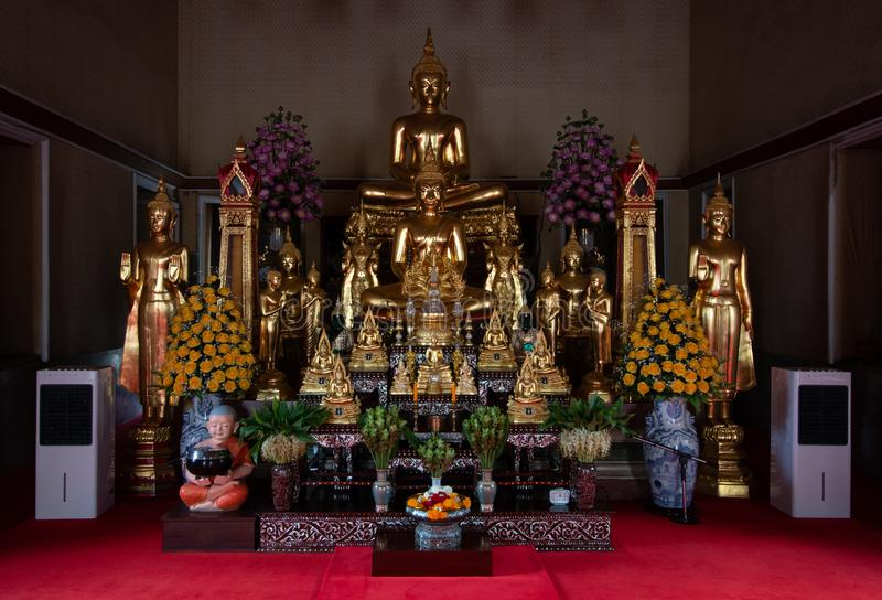 Bangkok, Thailand - Jul 9, 2018: Wat Pho or Wat Phra Chetuphon buddhist temple . golden buddha statue sitting . old historic archi stock photography