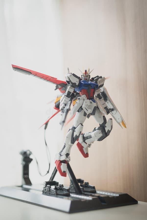 BANGKOK, THAILAND - 27. JULI 2016: Plastikmodell von GAT-X105 Aile Streik Gundam Ver RMvorlagengradskala lizenzfreies stockbild