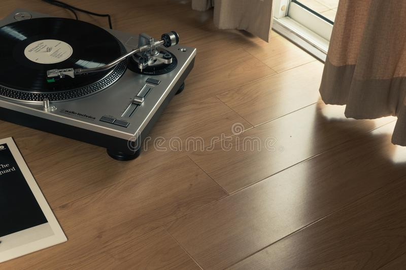 Audio-technica turntable stock image