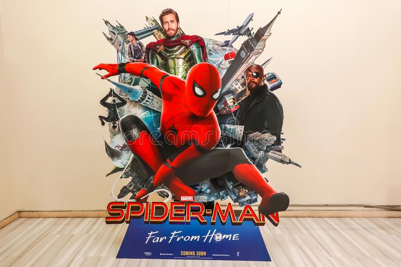 A beautiful standee of a movie called Spider-Man: Far From Home display at the cinema to promote the movie. BANGKOK, THAILAND, 11 July 2019 - A beautiful standee stock photos