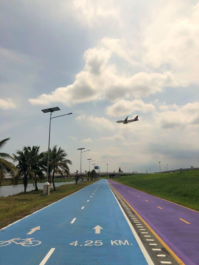 Bangkok, Thailand, the blue Skylane cycling path near the airport stock photos