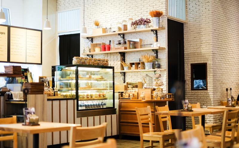 Interior dessert cafe at INT - Intersect Rama 3. Bangkok, Thailand - July 27, 2017 : Interior dessert cafe at INT - Intersect Rama 3 for sale honey toast, cake royalty free stock photo