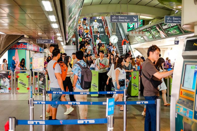 Bangkok, Thailand - July 07 2019: Many people is buying the ticket at the Bangkok skytrain BTS at Siam Station for Traveling. To Various places royalty free stock images