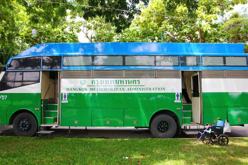 BANGKOK,THAILAND - 15 JULY ;2019: The mobile toilet is one service of Bangkok Metropolitan Administration to take care and royalty free stock image