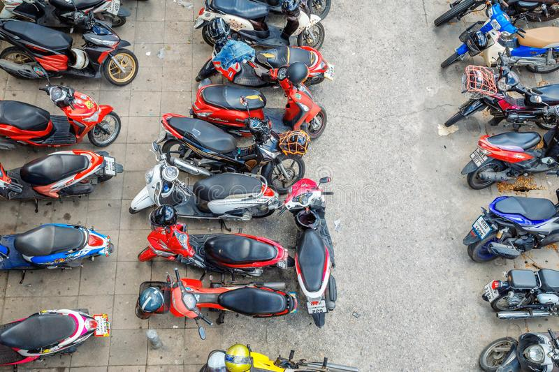 Motorcycles in the parking lot. Traveling in the city Is fast. Bangkok - Thailand 16 July 2019: Motorcycles in the parking lot. Traveling in the city Is fast stock photos
