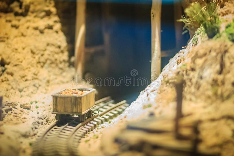 Bangkok-Thailand, July 15, 2017: Small model of mining and quarrying industries at the public Rock and Minerals Museum, Rama 6. Road, Bangkok stock images