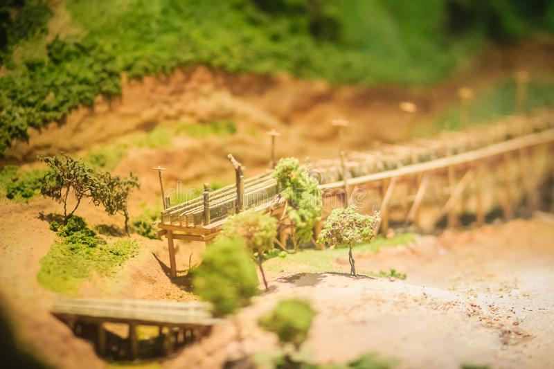 Bangkok-Thailand, July 15, 2017: Small model of mining and quarrying industries at the public Rock and Minerals Museum, Rama 6. Road, Bangkok stock photography
