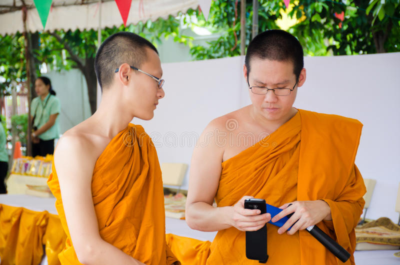BANGKOK ,THAILAND - 9 JULY 2014 : Unknown two monks in Buddhism stock photo
