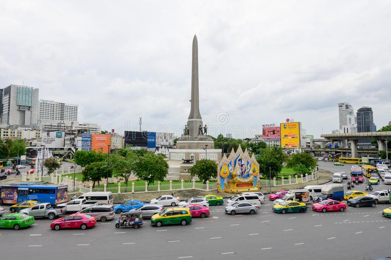 Bangkok, Thailand - July 4, 2019 : Victory Monument Anusawari Chai Samoraphum is one of Bangkok`s major traffic intersections stock image