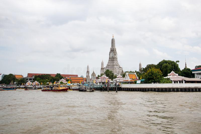Bangkok,Thailand -July9,2018: Wat Arun buddhist temple . famous ancient grand palace , asian travel landmark . old historic archit royalty free stock image