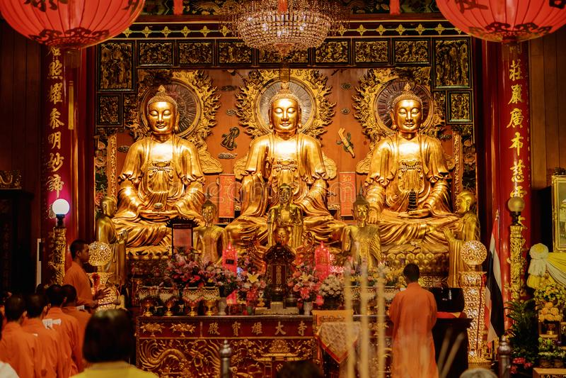 Wat Mangkon Kamalawat Or Wat Leng Noei Yi, famous and beautiful Chinese Buddhist Temple in China town of Bangkok royalty free stock photo