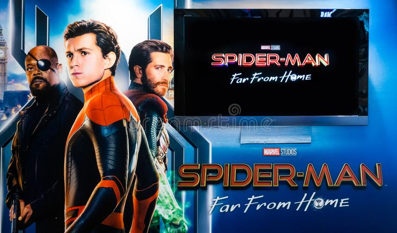 Bangkok, Thailand - Jun 26, 2019: Marvel`s `Spider-Man: Far From Home` backdrop poster with Sony TV show movie trailer in theatre royalty free stock photo