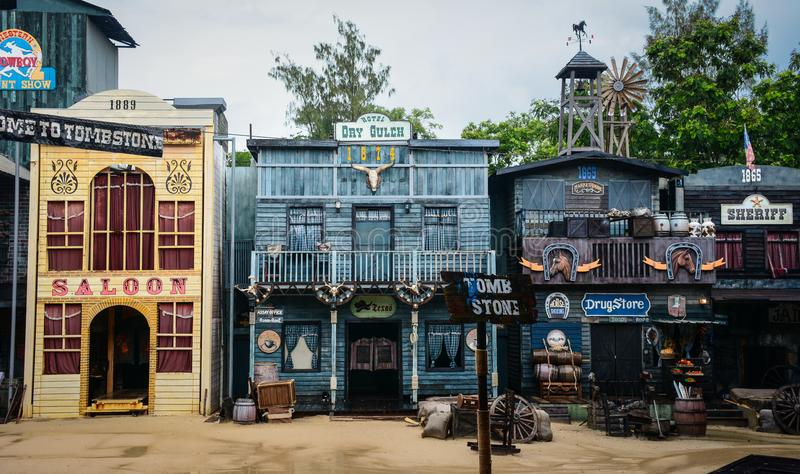 Street of wild west town in a cowboy show stock photography