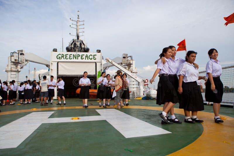 BANGKOK THAILAND-Jun 27:Unidentified Young Student Walking On The Esperanza Ship Of Greenpeace  International Environmental Organi Editorial Stock Image