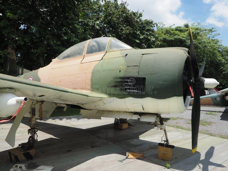 American single-seat attack aircraft at RTAF museum. BANGKOK, THAILAND - JUNE 5, 2018: American single-seat attack aircraft Douglas A-1 Skyraider is displayed royalty free stock photo