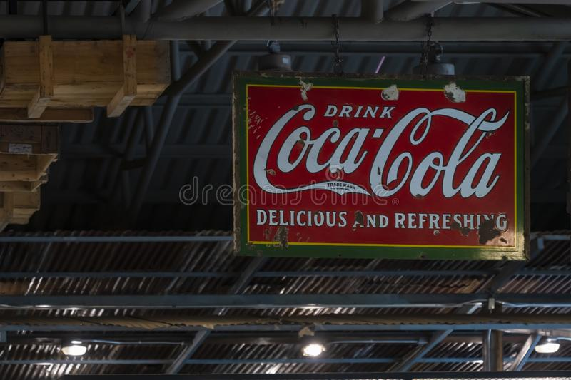 Coca Cola sign on roof ceiling decoration stock photos