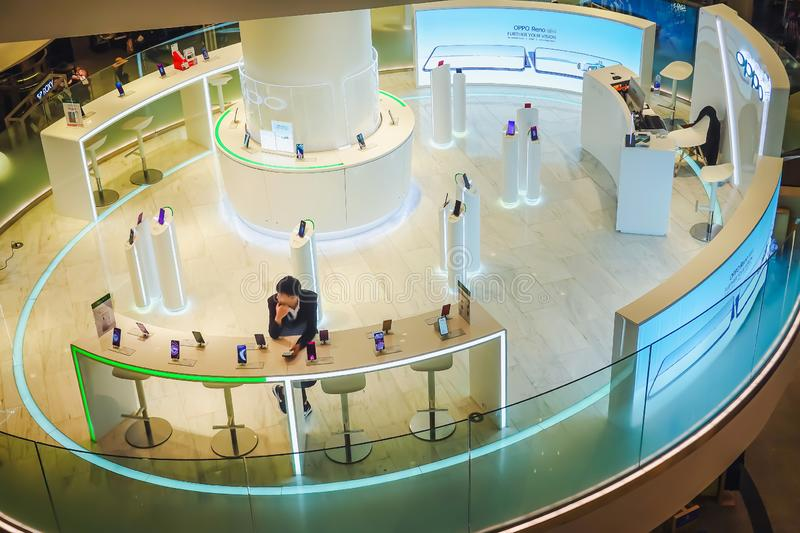 Boots selling mobile phone brand Oppo,  display in shopping mall. Oppo electronics Corp. is a chinese electronics manufacturer. Bangkok, Thailand. June 19, 2019 stock image