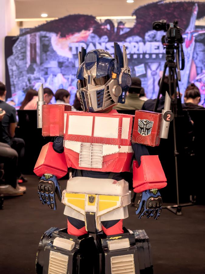 Bangkok, Thailand - June 15, 2017: .Boy wearing a suit of Optimus Prime is a fictional character from the Transformers: The Last. Knight at the emporium Bangkok stock images
