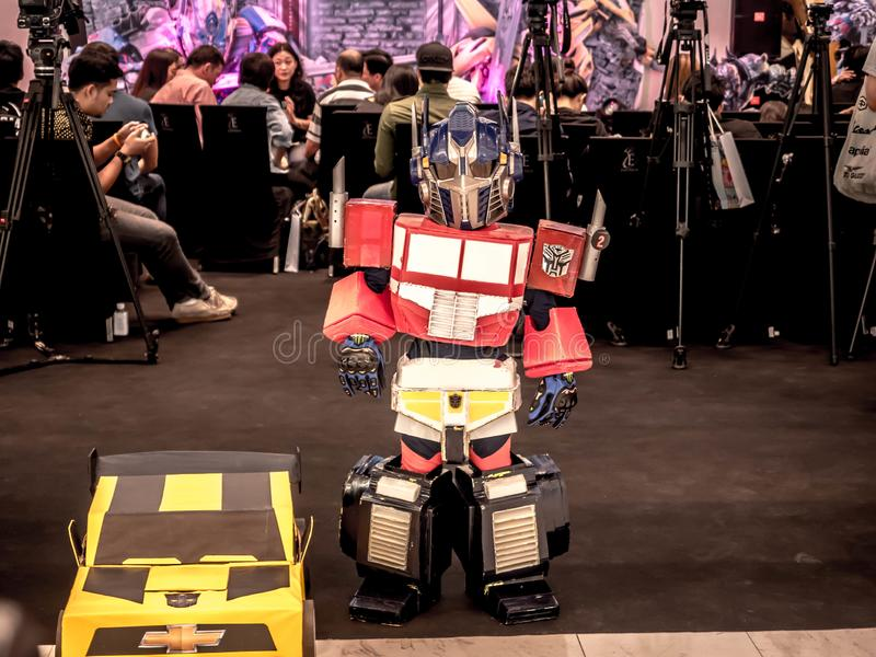 Bangkok, Thailand - June 15, 2017: .Boy wearing a suit of Optimus Prime is a fictional character from the Transformers: The Last. Knight at the emporium Bangkok stock photos