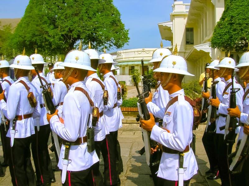 Bangkok, Thailand - June 30, 2008: Change of the guard honor at Royal Palace royalty free stock photo