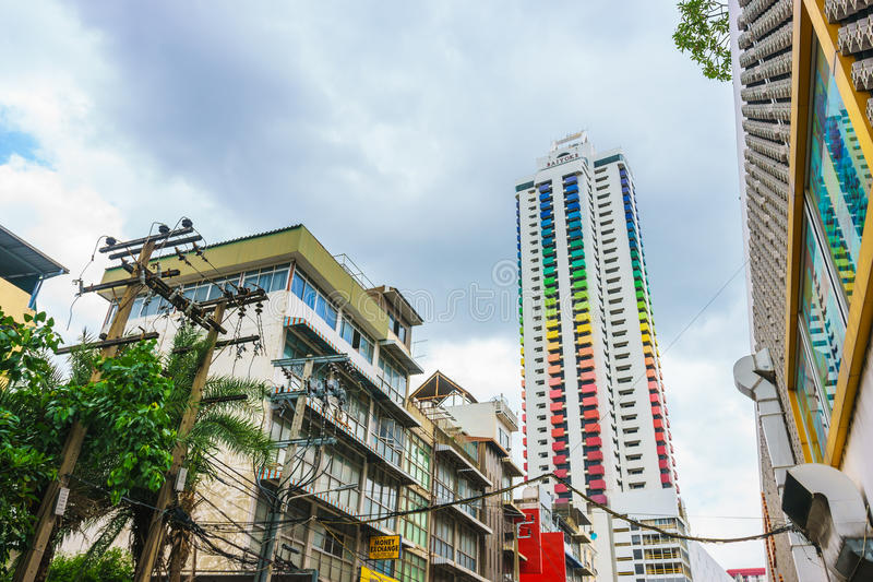 Bangkok, Thailand - June 3, 2017: Colorful building Baiyoke Tower I with a cloudy background, seen from Rajaprarop Road in Bangkok. Thailand stock image
