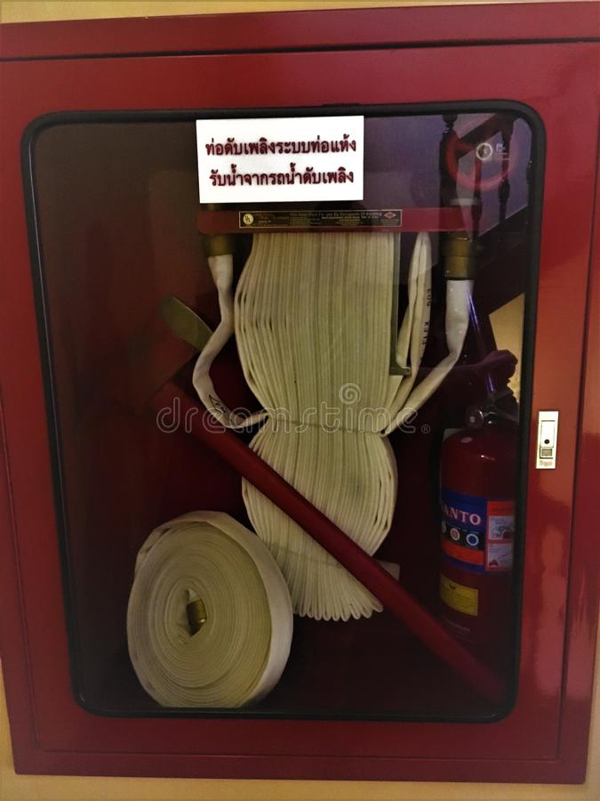 Bangkok,Thailand-June 24,2018 Fire extinguisher full set safety at hotel.  royalty free stock photos