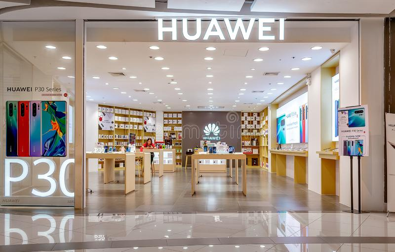 BANGKOK, THAILAND - JUNE 11: Huawei mobile retail store empties in Seacon Square shopping mall in Bangkok on June 11, 2019 royalty free stock image