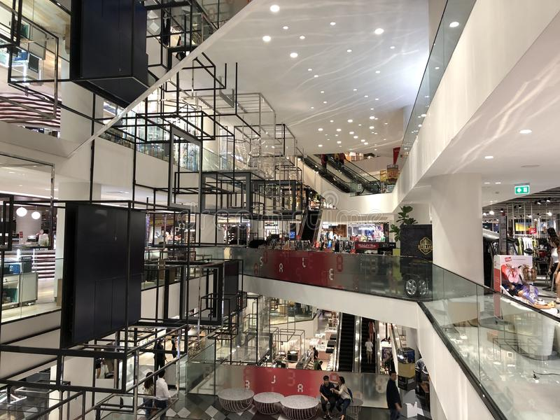 Interior of Siam center shopping mall stock images