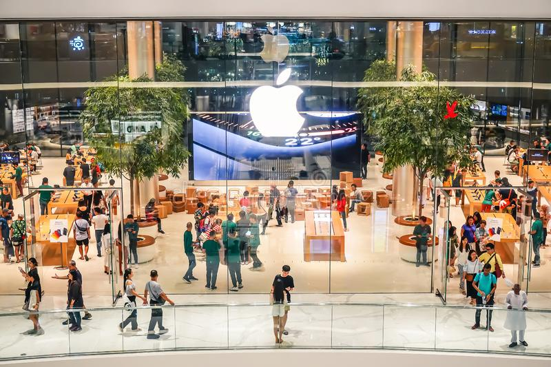 A lot of people visiting the first official Apple store in Thailand, royalty free stock photo
