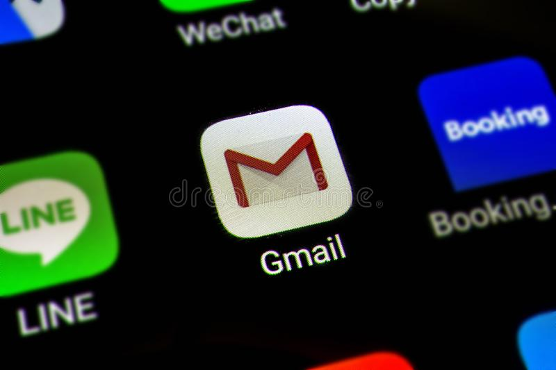 Bangkok, Thailand - June 15 2019: Macro photo of Google Gmail application icon on a smartphone screen. Gmail is popular Internet royalty free stock images