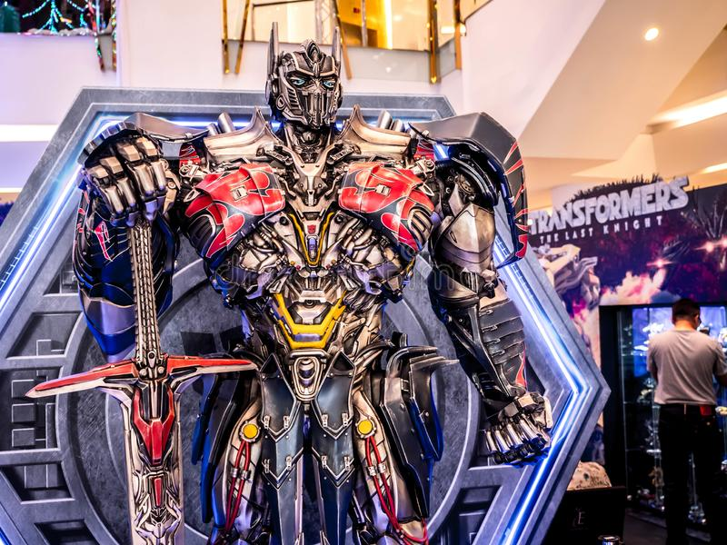 Bangkok, Thailand - June 15, 2017: Optimus Prime from the Transformers: The Last Knight. It is the fifth installment of the live- royalty free stock photo