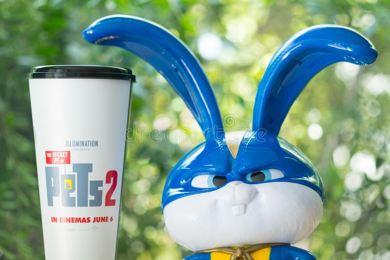 Bangkok, Thailand 2 June 2019 - The secret life of Pets 2 combo set of popcorn bucket and soft drink promotions from SF Cinema at royalty free stock photo