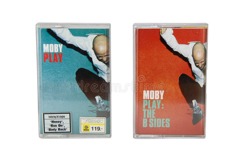 BANGKOK, THAILAND-30 June 2017, Two album Moby cassette tape cover. Moby, is an American DJ, record producer, singer, songwriter. BANGKOK, THAILAND-30 June 2017 stock image
