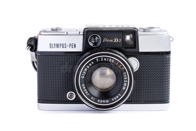 BANGKOK, THAILAND - 29. Juni 2019: Weinlese-Filmkamera Olymp-Stiftes d3 lokalisiert auf weißem Hintergrund lizenzfreie stockbilder