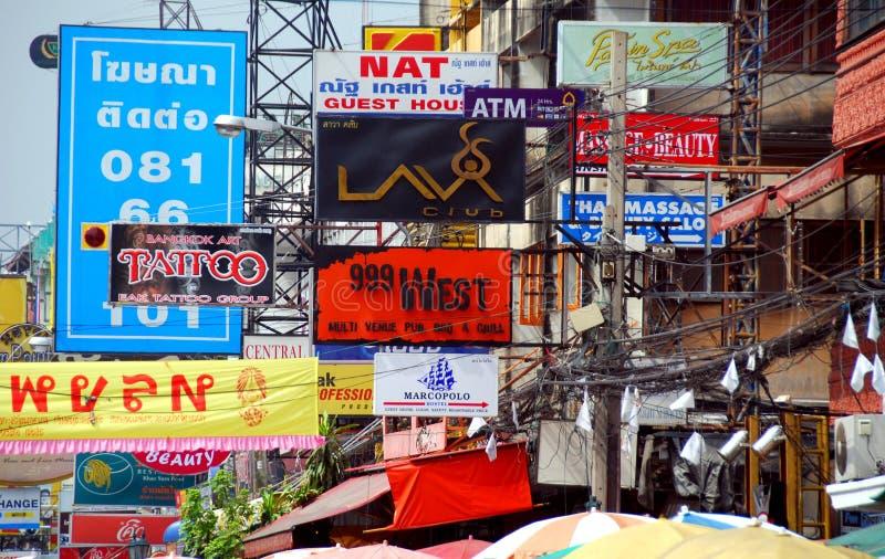Bangkok thailand khao san road signs editorial image for Bangkok tattoo prices