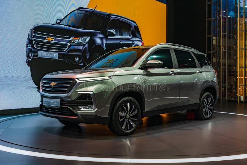 Bangkok, Thailand - 31. März 2019: Neues Chevrolet Captiva 2019 auf Anzeige an der 40. Bangkok-Internationalen Automobilausstell lizenzfreies stockbild