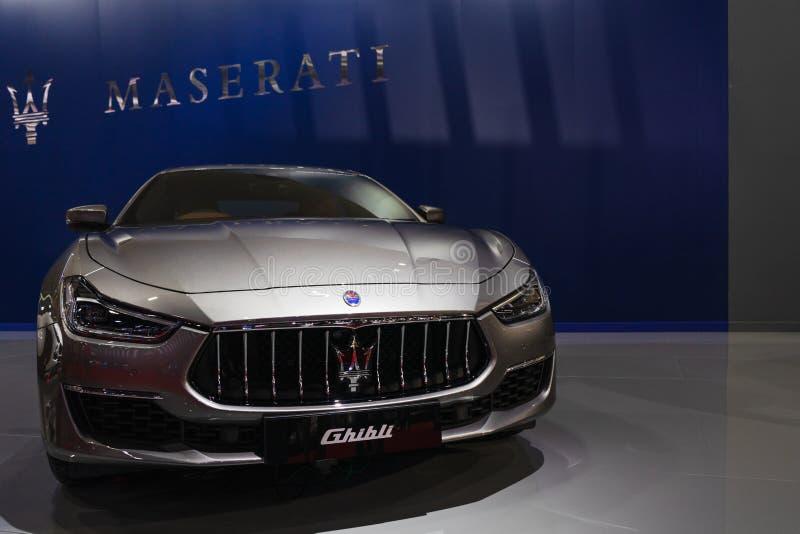 Bangkok, Thailand - Maart 31, 2019: Demonstreerde de luxe uitvoerende auto Maserati Ghiblion bij de Internationale de Motorshow 2 stock foto's