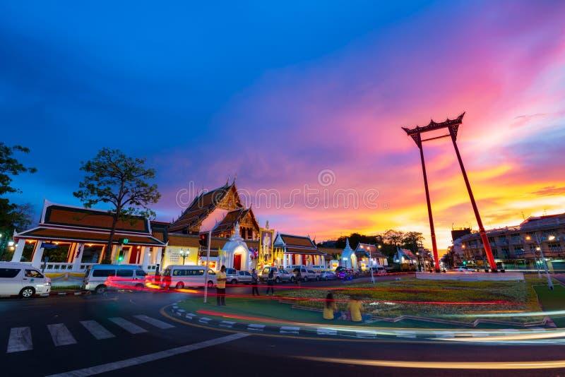 Bangkok Thailand - Maj 3, 2019: Den thailändska jätte- gungan: Den SaoChing chaen är en religiös struktur Lokaliserat framme av W fotografering för bildbyråer