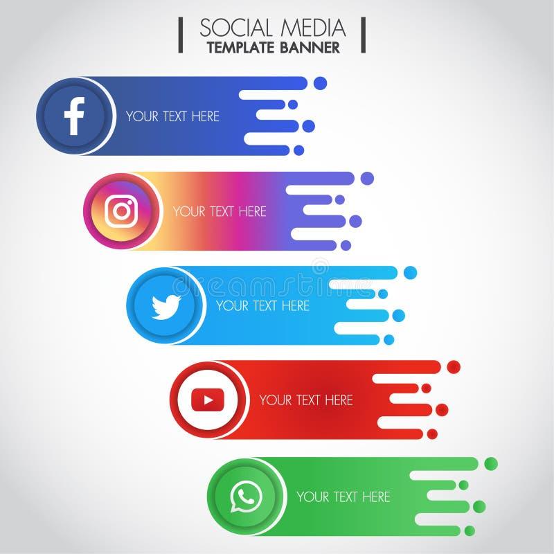 Bangkok Thailand - Maj 7, 2019: Ställ in av populärt socialt baner för massmediasymbolsmall på vit bakgrund: Facebook Youtube royaltyfri illustrationer