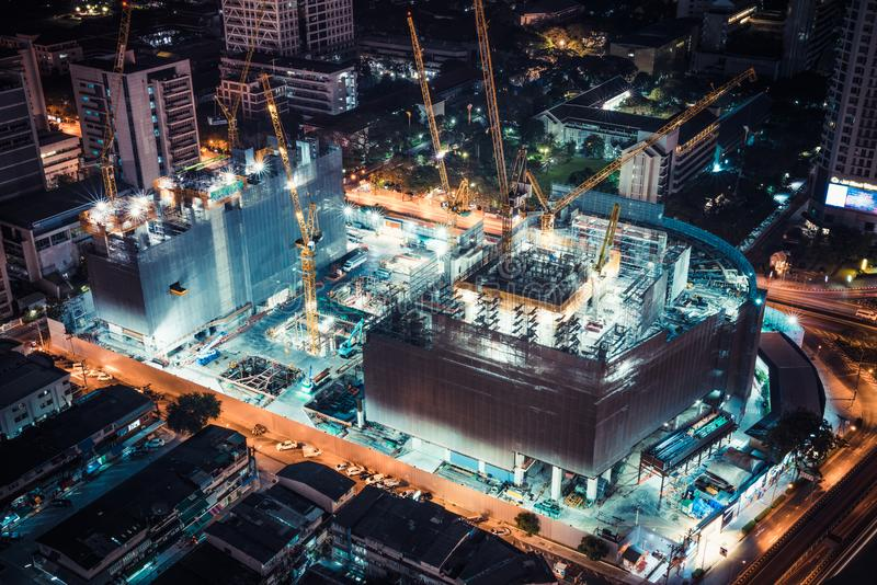 Bangkok, Thailand - Mar 5, 2018: Construction site of shopping center or community mall project in Bangkok, Thailand. Night scene stock photos
